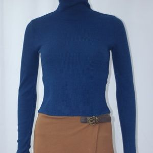NEW Navy Blue Turtle Neck & Brown Dress Sz L